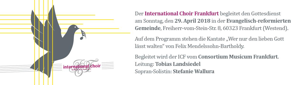 ICF singt am 29. April 2018
